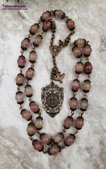 Blessed Sacraments Holy Spirit Lamb of God Pink Strawberry Quartz Bronze Ornate Chaplet