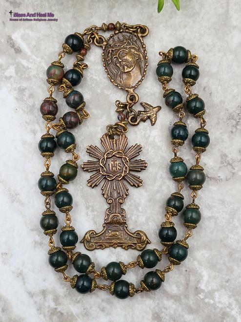 Blessed Sacraments Face of Jesus Crown of Thorns Bloodstone Pietersite Bronze Chaplet