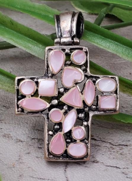 Pink MOP Shell Mosaic Heart Sterling Silver Vintage Cross Pendant Thailand Medium
