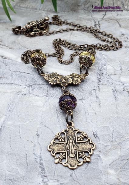 Miraculous Mary Citrine Amethyst Solid Bronze Ornate Antique Style Catholic Necklace Pendant Joy Love Happiness Loyalty Abundance Health