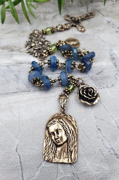 Virgin Mary Blue Kyanite ornate Vintage Bronze Chaplet