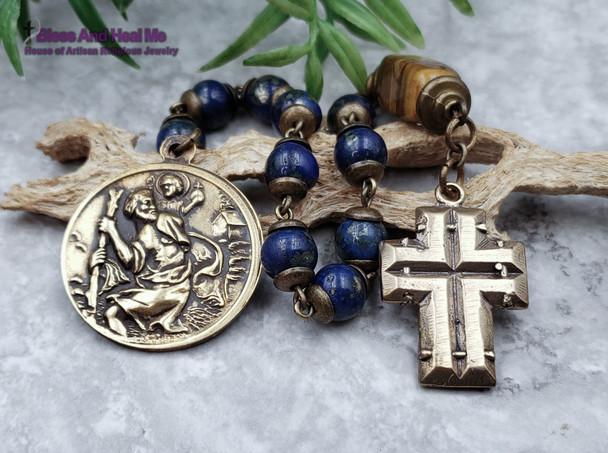 St Christopher Pope John Paul ll Blue Jasper Tiger Eye Bronze One Decade Mens Chaplet Protection Good Luck