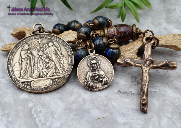 Holy Eucharist Communion Sacred Heart Blue Red Jasper Large Bronze Chaplet protection stress balance