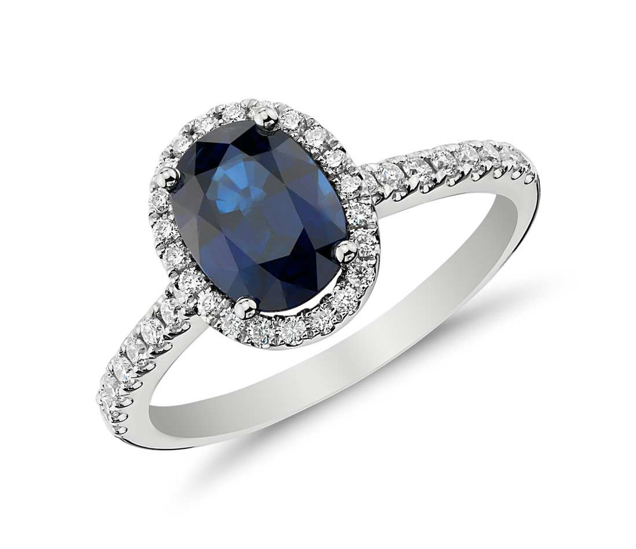 36e7d5b82f8b1 Sapphire and Micropavé Diamond Halo Ring in 14k White Gold (1.55ct)