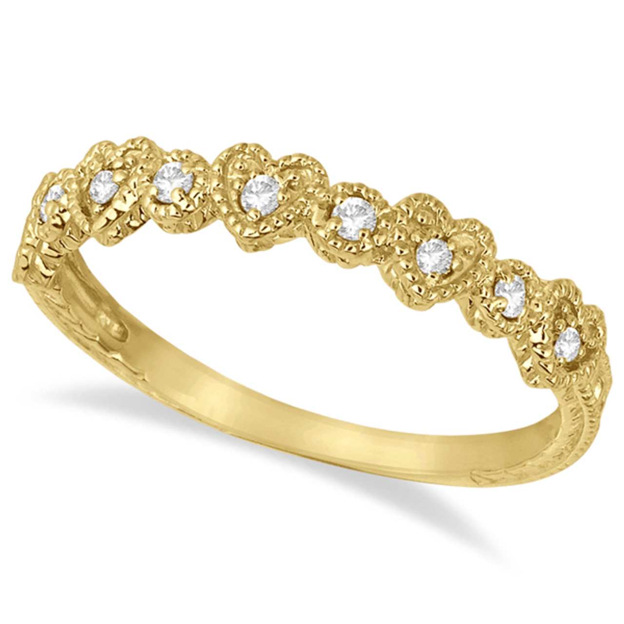 3c16d6109d8a0 14k Yellow Gold Pave Set Heart Design Diamond Ring Band (0.15ct)