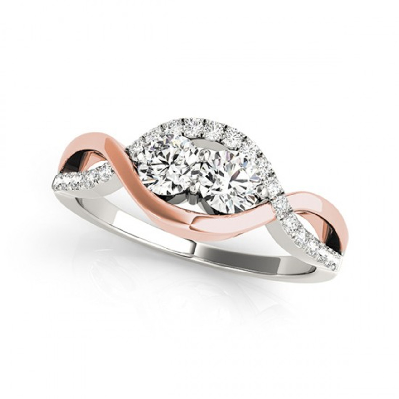 1dcf0af5f0c22 2-Stone Overlap Swirl Diamond Engagement Ring in 14K Two-Tone Gold (2/5ctw  - 1 1/5ctw)
