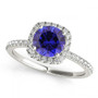 1/2CT Round Sapphire and Diamond Halo Engagement Ring in 14k White Gold(.71ctw)