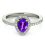 14k White Gold 7x5 Pear Shape Amethyst and Diamond Engagement Ring (.85ct t.w)