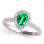 14k White Gold 7x5 Pear Shape Emerald and Diamond Engagement Ring (.90ct t.w)