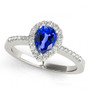 14k White Gold 7x5 Pear Shape Sapphire and Diamond Engagement Ring (.95ct t.w)