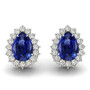 14k White Gold 6X4mm Pear Shape Sapphire and Diamond Earrings (1.28ctw)