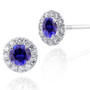 14k White Gold Round Sapphire and Diamond Halo Earrings (1.00ctw)