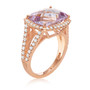 Cushion-Cut Amethyst and Diamond Ring in 14k Rose Gold (7.05ctw)