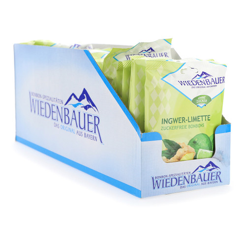 Wiedenbauer caramelle 75gx20 Zenzero Lime senza zucchero