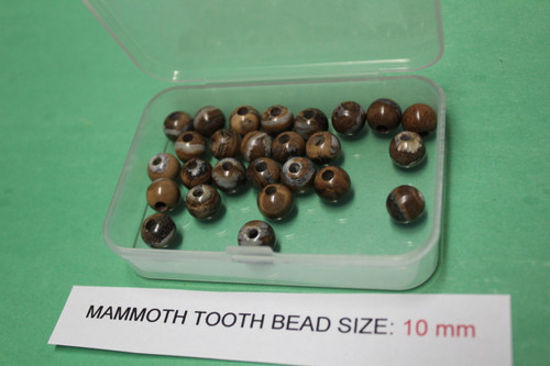 Mammoth Tooth Bead for Jewelry 10 mm Brown and Tan