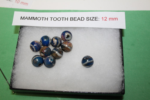 Mammoth Tooth Bead for Jewelry 12 mm Blue Pigment