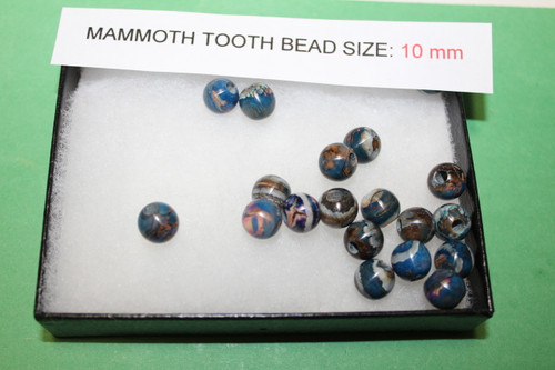 Mammoth Tooth Bead for Jewelry 10mm Blue Pigment