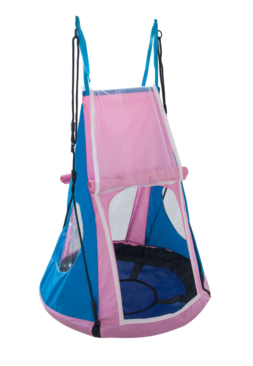 Sensory University Cozy Comfort Swing available in both blue and pink tent colors.