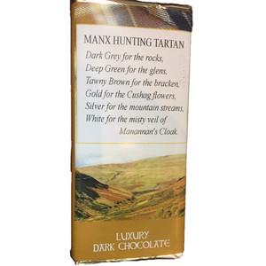 Manx hunting tartan dark chocolate bar