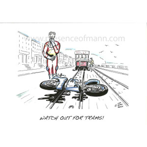 Hancox Art greetings card, 'Watch out for Trams', TT theme