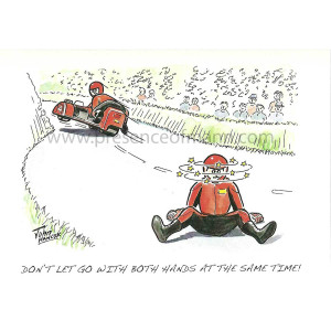 "Hancox Art TT themed greetings card - ""Don't Let Go With Both Hands at the Same Time"""