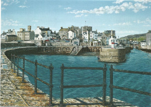 Castletown Harbour art greeting card by Tracey Dean