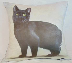 Cushion with Manx Cat design by artist Simone Forster.