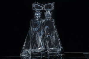 Glass Lovers Decanters with Julia Ashby Smyth's Ellan Vannin design - shown together