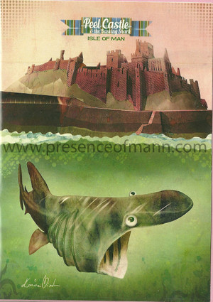 Kasia Mirska's Peel Castle and Basking Shark greetings card