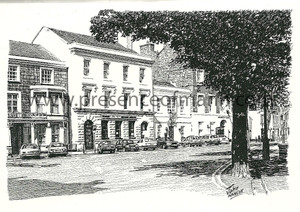 Greetings card with front featuring Castletown Square by John Hancox