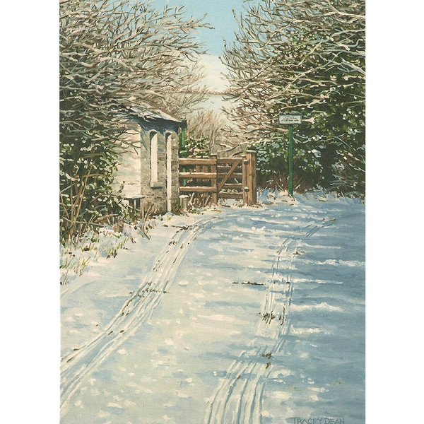 Tracey Dean Christmas Card, Snow at the Crossing, Glen Vine