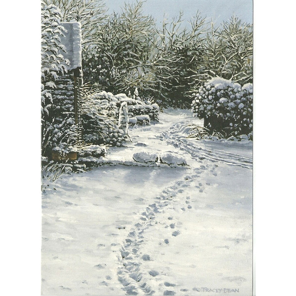 Tracey Dean Christmas Card, footprints in the snow, Glen Vine