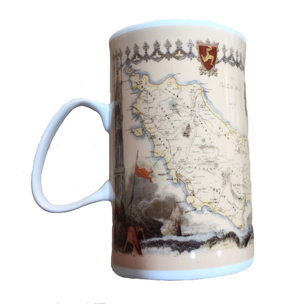 Antique map mug from the Isle of Man