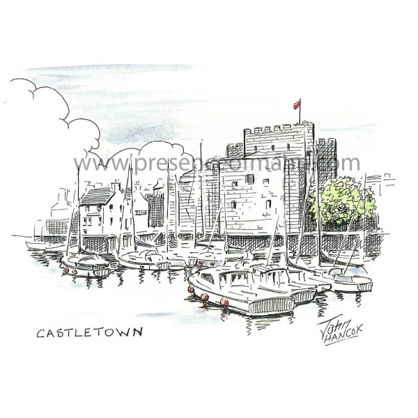 Hancox Art greetings card front, showing Castletown Harbour and Castle Rushen