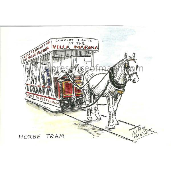 Hancox Art Greeting Card 'Horse Tram on Douglas Promenade'