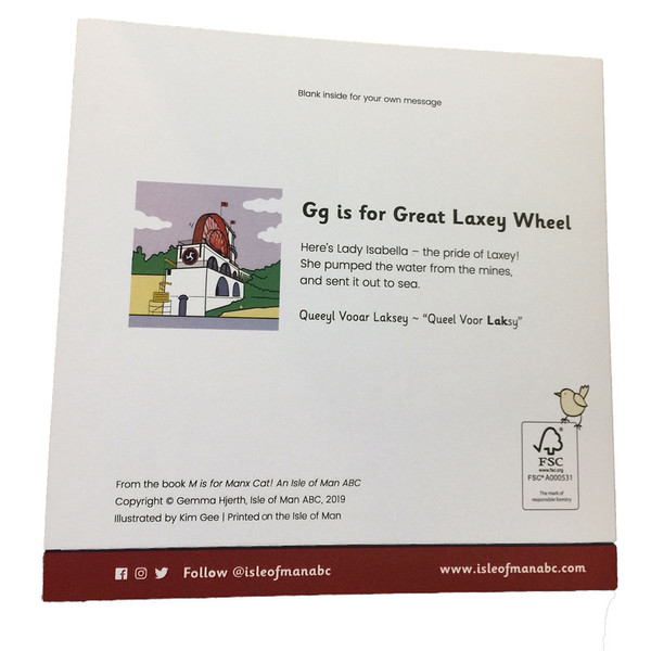 Back of Laxey wheel card