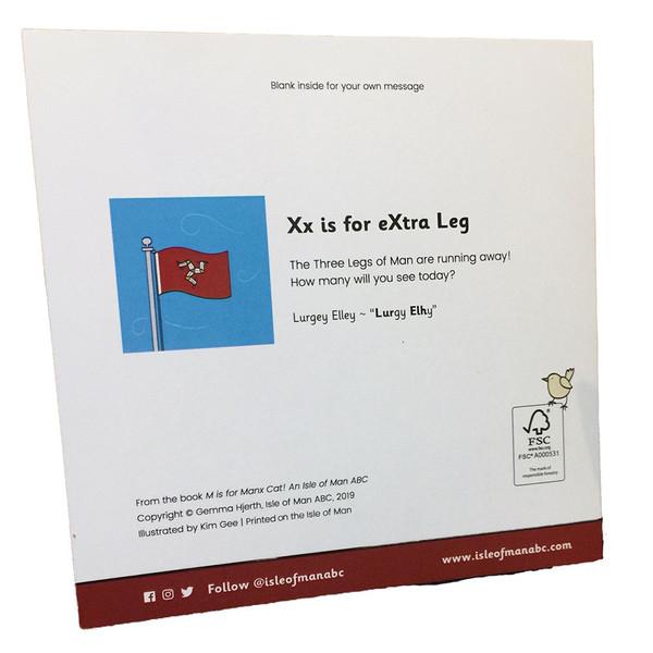 Back of Isle of Man flag card