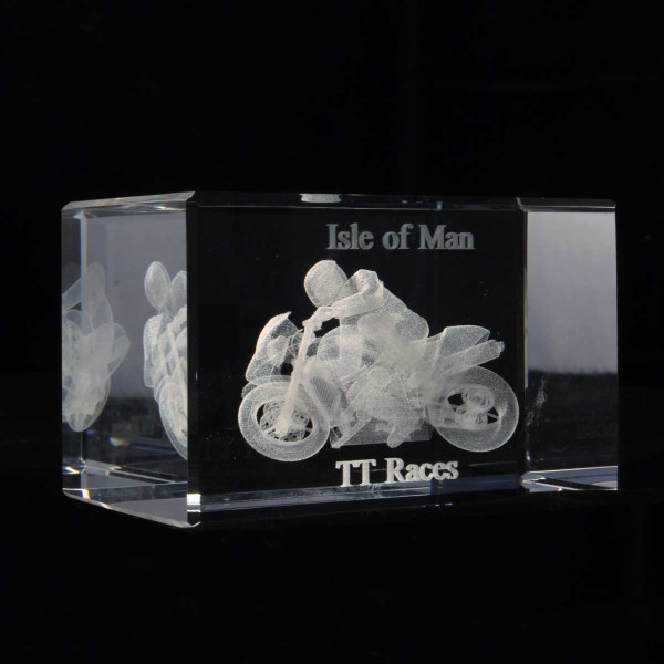 Isle of Man TT racing bike glass crystal block