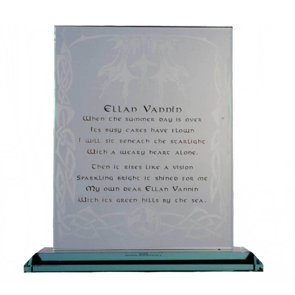 Glass plaque featuring the first verse of the poem, Ellan Vannin
