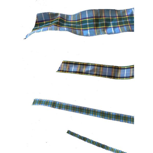 Different widths of Manx tartan
