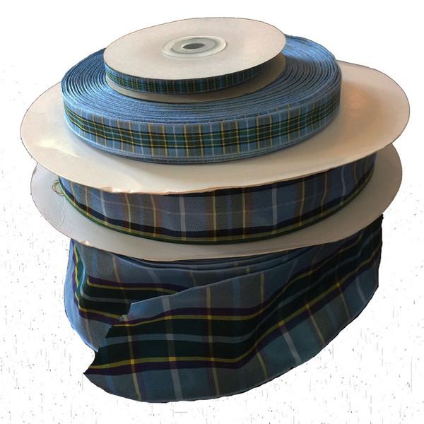 various sizes of Manx tartan ribbon