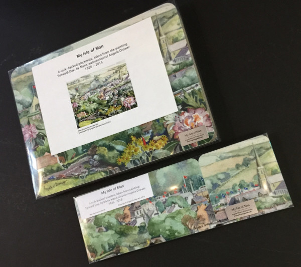 Angel Drower Tynwald Day placemats shown with companion product 6 coasters featuring segments from the watercolour 'Tynwald Day' by Angela Drower