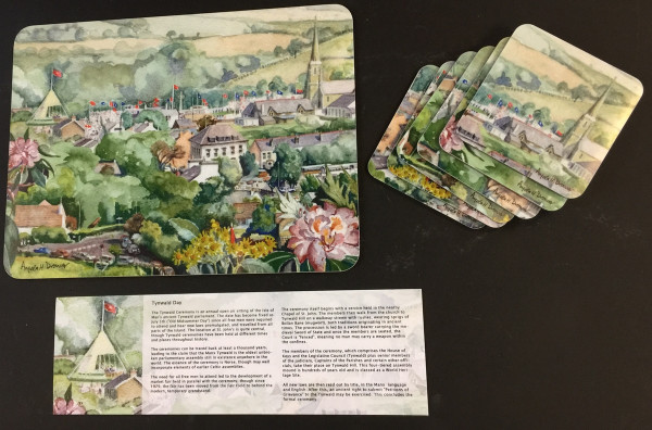 Angela Drower Tynwald Day placemats and coasters shown together with information card