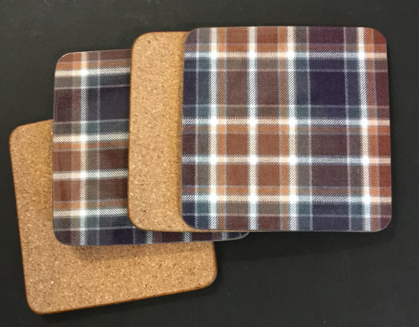 Set of Four Manx Hunting Tartan Coasters - showing cork backing