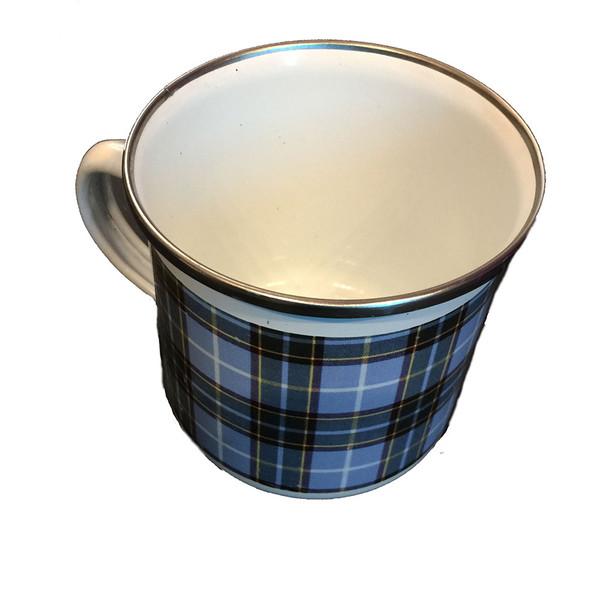 Tin mug in Manx tartan design