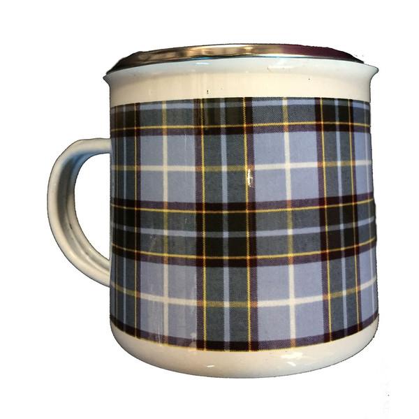 Manx tartan tin mug