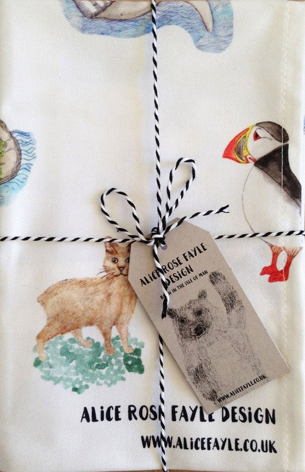 Animals of the Isle of Man T Towel by Alice Rose Fayle - folded
