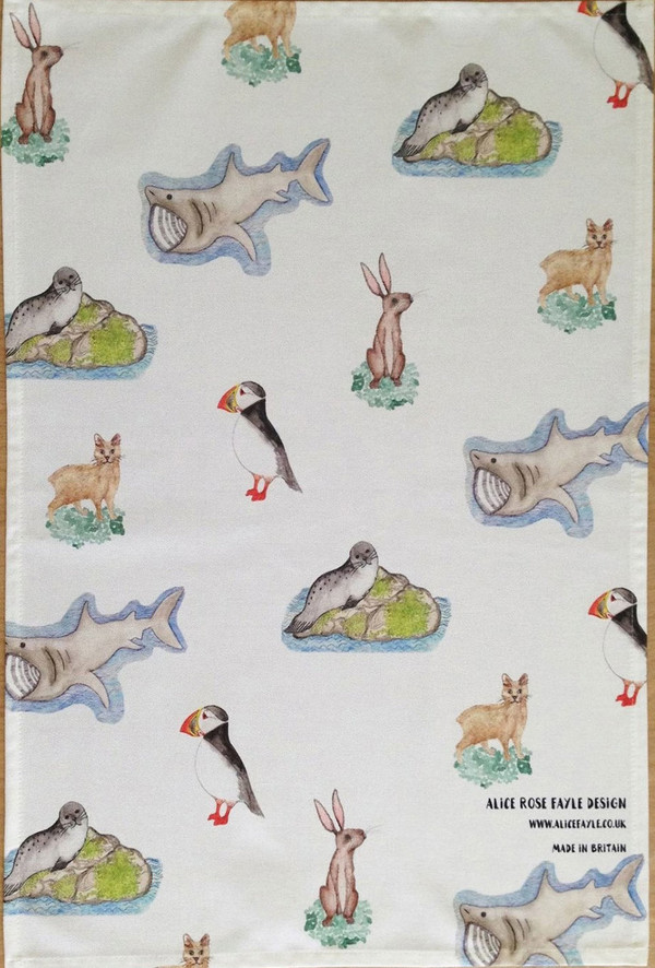 Animals of the Isle of Man T-Towel by Alice Rose Fayle - unfolded