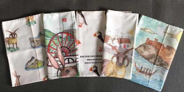 The available range of T Towels by Alice Rose Fayle inspired by Manx Nature