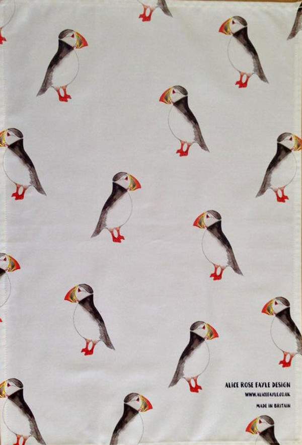 Puffins T Towel designed by Alice Rose Fayle - unfolded